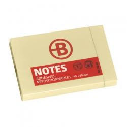NOTES REPOSITIONNABLES JAUNES BRUNEAU 40 X 50 MM - BLOC DE 100 FEUILLES