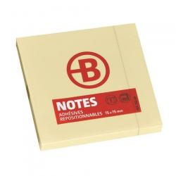 NOTES REPOSITIONNABLES JAUNES BRUNEAU 75 X 75 MM - BLOC DE 100 FEUILLES
